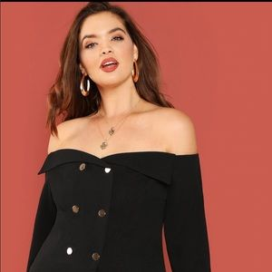 Jackie Double Breasted Off Shoulder Top